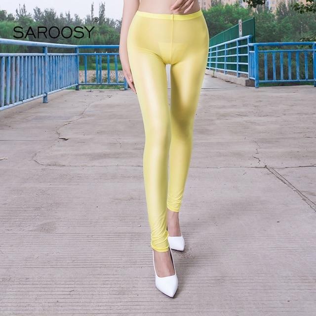2018 NEW Sexy Slimming Nylon Leggings for Women 8 Colors Shinny Under Sun Sheer Pants Elastic Leggings Plus Size Open Crotch 5