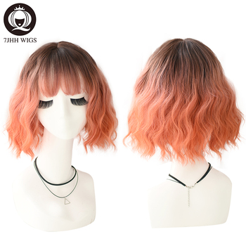 цена на 7JHH WIGS Synthetic Blend Wigs Short Hair Deep Wave Soft Cosplay Wig With Bangs For Women Curly Colorful Wig