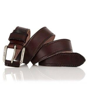 Image 4 - Cinto de couro genuíno masculino, cinto de couro genuíno para calças de brim, cinto vintage com fivela, para homens