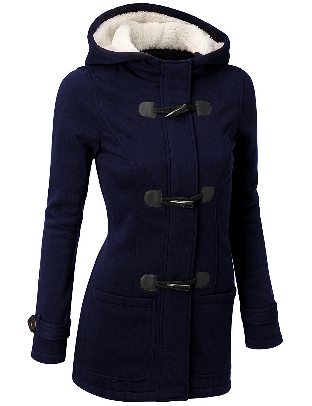 Women Cotton Overcoat 2019 Winter Casual Horn Button Hooded Blend Outwear Fashion Pocket Solid Buckles Female Coat Plus Size 4