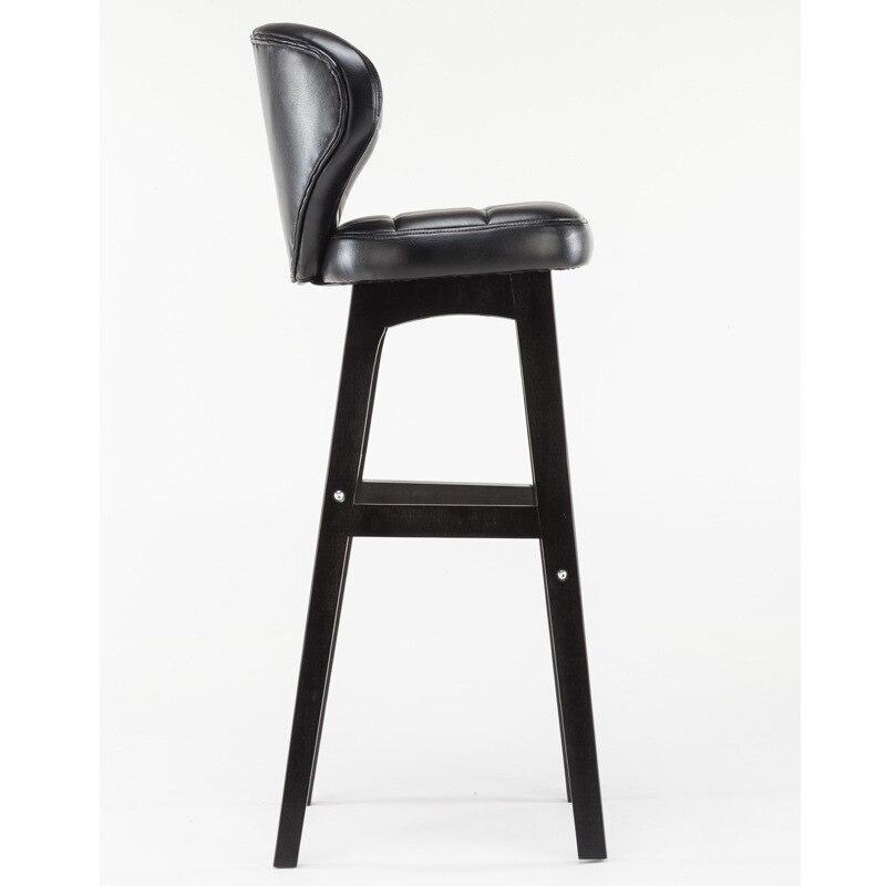 Home European Solid Wood Bar Stool Modern Minimalist Back Bar Bar Stools American Bar Chair Front High Stool