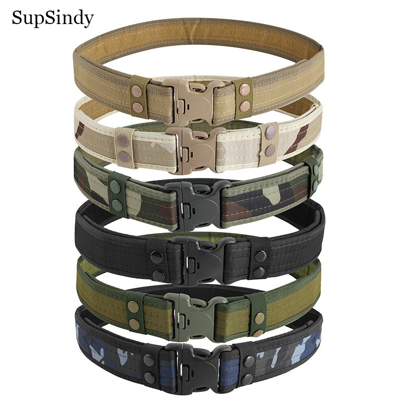 SupSindy Military Army Equipment Combat Man's Canvas Belt Quick Release Tactical Belt For Men Outdoor Training Hunting Waistband