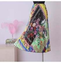 high waisted pleated Length skirt women solid color ruffle Elastic Waist Print Maxi Dress Medium