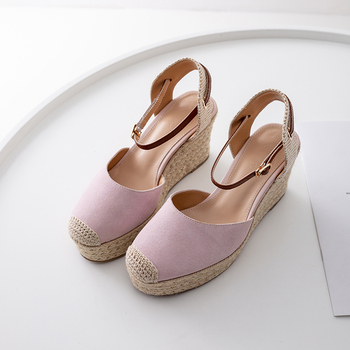Women's genuine suede leather ankle strap wedge platform sandals leisure female comfortable high heel summer sandals casual shoe