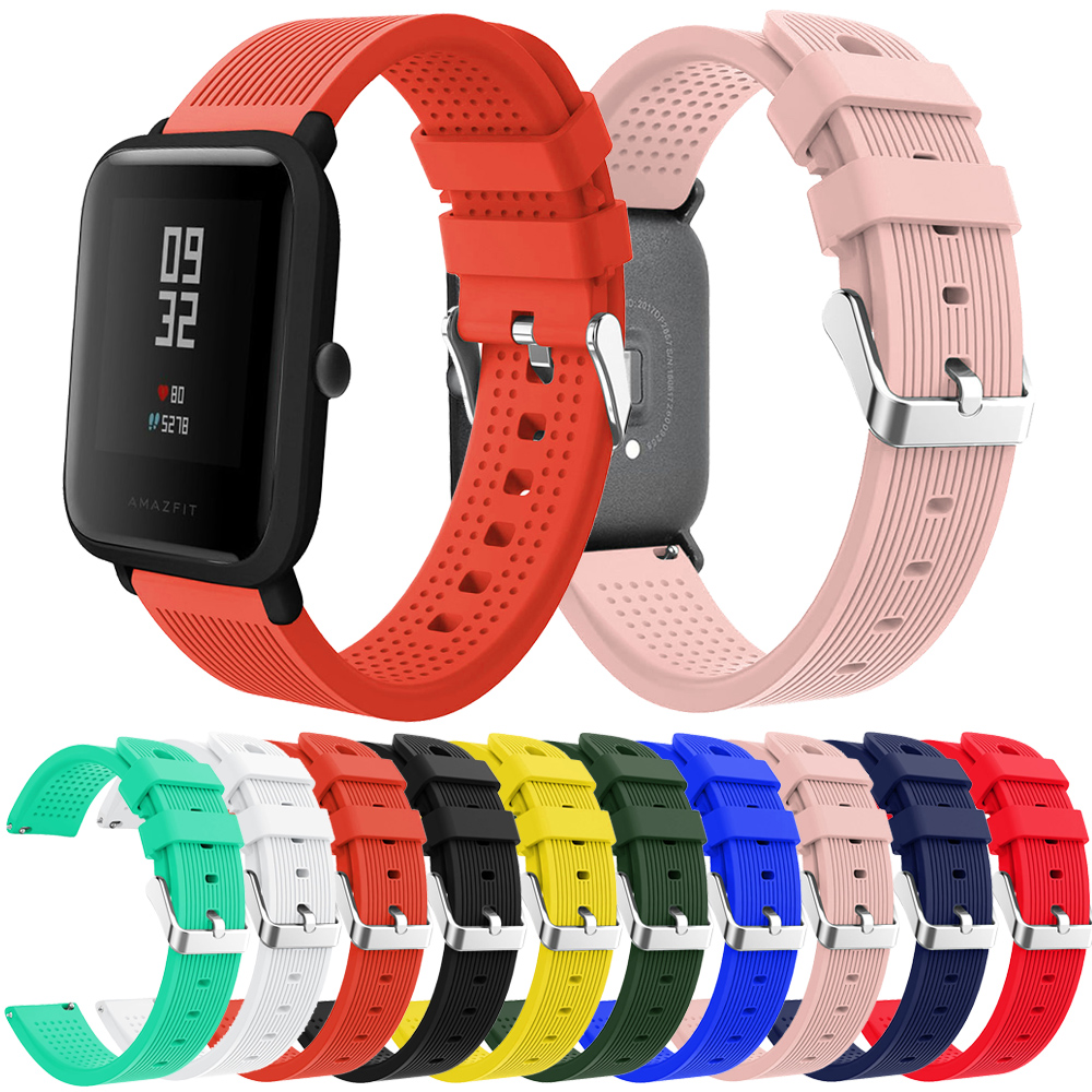 20mm Watch Strap For Amazfit Bip Band Youth Straps For Xiaomi Amazt Bip Sport Silicone Smart Watch Wrist Bracelet Replace