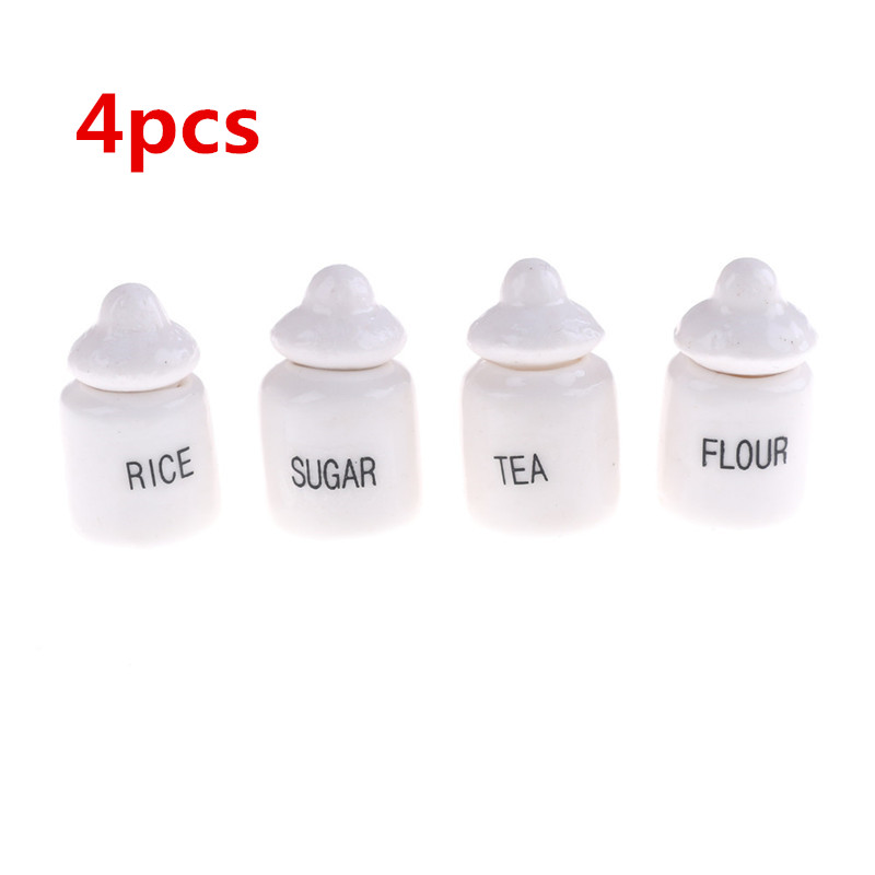 4pcs 1:12 Doll House Miniature Cute White Ceramic Storage Jars Kitchen Accessories Classic Pretend Play Furniture Children Toys