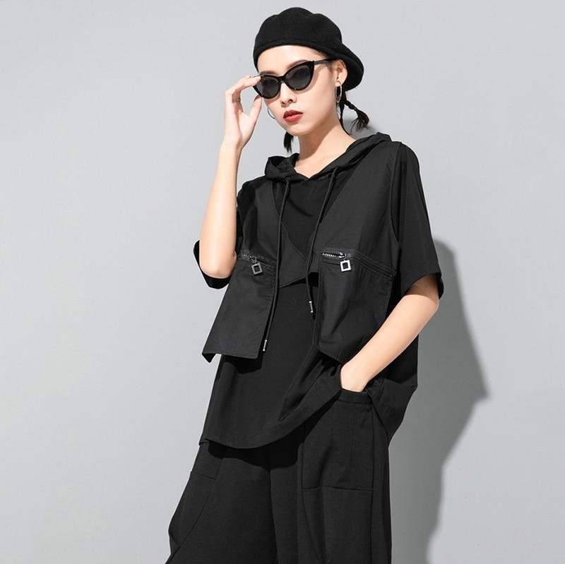 [EAM] Women Contrast Color Split Pocket Irrgular Big Size T-shirt New Hooded Short Sleeve  Fashion Tide Spring Summer 2020 1U512 5