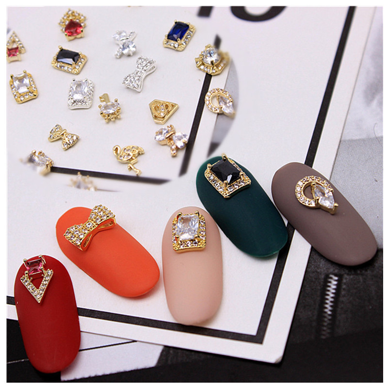 Manicure Metal Alloy Decorations 113 New Year Swan Lucky Golden Toad Real Gold Nail Sticker Big Rhinestone Bow