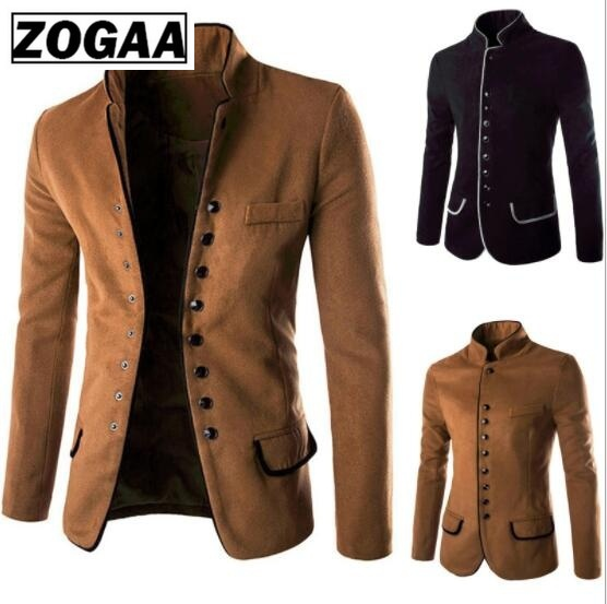 ZOGAA Men's Vintage Jacket Men Solid Slim Fit Outwear Brand New Men's Fashion Casual Woolen Suit Coat Men Clothes 2018