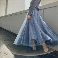 Maxi Long Soft Tulle Skirt Steampunk Black Pleated Tutu Skirts Womens Vintage Petticoat lange rok jupes falda