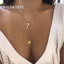 Wild&Free New Stainless Steel Lock & key Pendant Necklace Fo