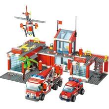 774 adet şehir yangın İstasyonu yapı taşları setleri yangın motor Fighter teknik kamyon araba yaratıcı tuğla eğitici oyuncaklar çocuklar için
