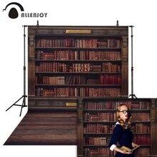 Allenjoy photographie arrière plans étagère de livre dans la bibliothèque graduation saison retour à lécole photophone arrière plan pour studio photo