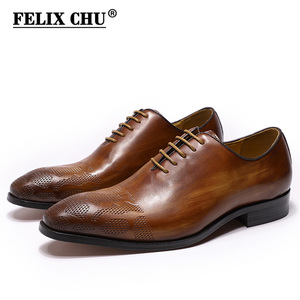 Image 1 - Brand Italian Mens Oxford Shoes Men Genuine Leather Dress Shoes Handmade Brown Lace Up Wedding Mens Formal Business Shoes