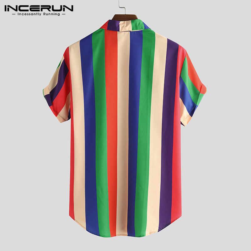 INCERUN 夏のカラフルなストライプ男性シャツ半袖ラペルストリートファッションはカジュアルルーズはハワイのビーチシャツ 2020
