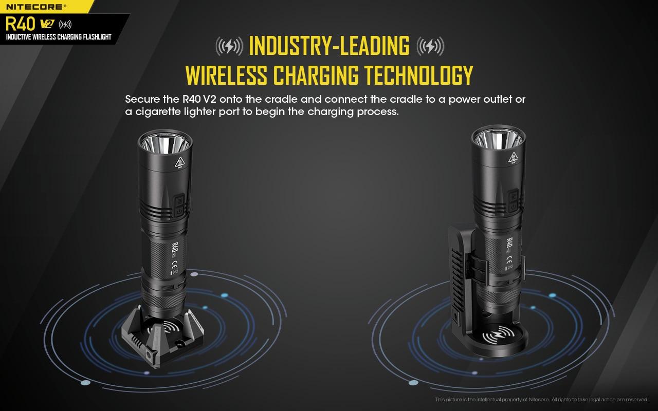 Nitecore-lanterna led r40 v2 com 21700 baterias,