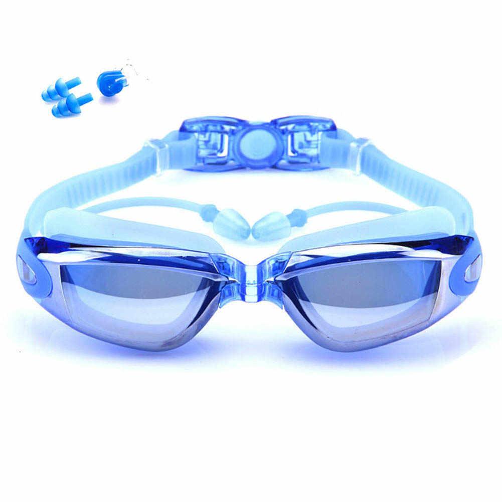 Zwembril Volwassen Oordopje Waterdicht Anti-Fog Bril Mannen Arena Water Swim Eyewear Siliconen Zwemmen Goggle Pak