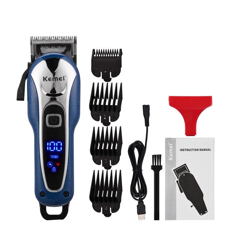 Máquina de Cortar Kemei Recarregável Cabelo Barbeiro Profissional Aparador Elétrico Display Lcd Máquina Corte Adultos Crianças 5 Usb