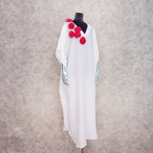 Image 4 - Oversize Women Summer Beachwear Long Kaftan Beach Dress White Cotton Tunic Bathing Suit Cover ups Bikini Wrap Cover up #Q871