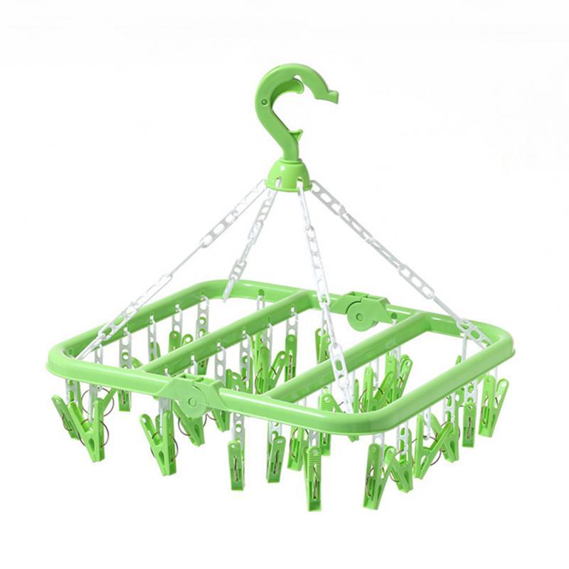 Folding Windproof 32 Clip Drying Rack Hanger Towels Socks Underwear Drying Rack