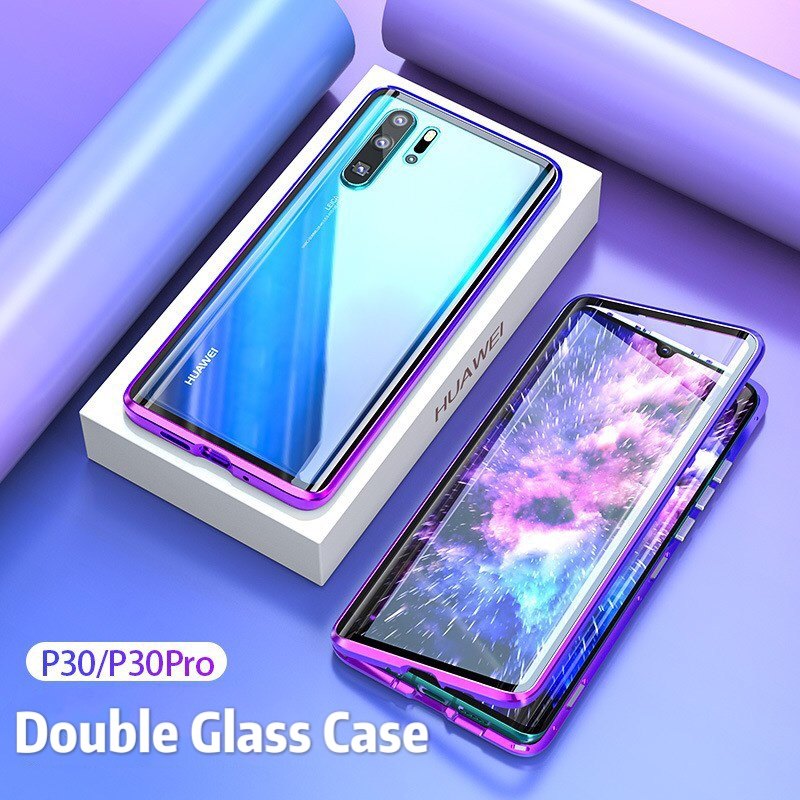 Magnetic 360 Full Case For Huawei P30 Pro Mate 20 Pro Metal Shell Front Back Double GlassCover Huawei P20 Lite Mate 30Pro Cases