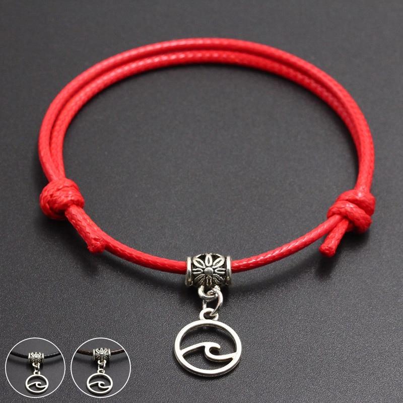 New Cute Wave Pendant Red Thread String Bracelet Lucky Handmade Rope Charm Bracelet for Women Men Lover Couple Jewelry