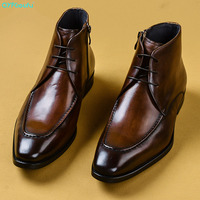 QYFCIOUFU 2019 Autumn Men's Chelsea Boots Genuine Cow Leather Mens Dress Boot Shoes Wedding Dress Short Martins Boots For Man