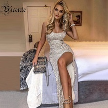 VC 2020 All Free Shipping New Trendy Sequins Embellished Sexy Split Sleeveless Celebrity Party Long Dress