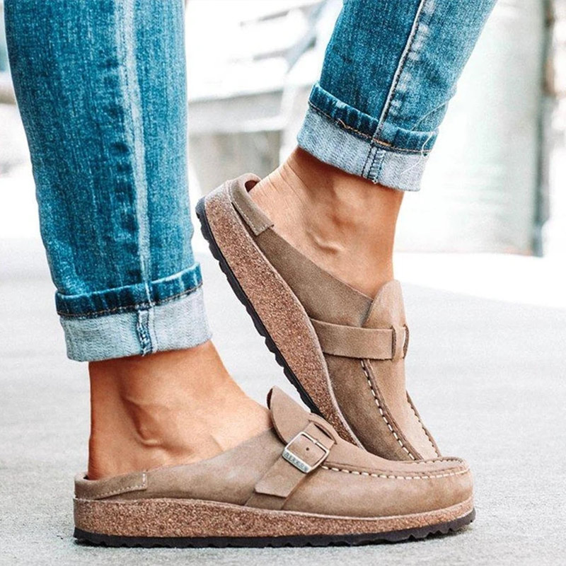 Women Vintage Flats Shoes Woman Sewing Buckle Casual Loafers Candy Color Ladies Shoes Zapatos Slip On Comfort Female Slippers