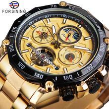 Forsining Tourbillon Men Mechanical Watch Golden Designer Automatic Moonphase Date Skeleton Steel Strap Race Sport Watches Clock