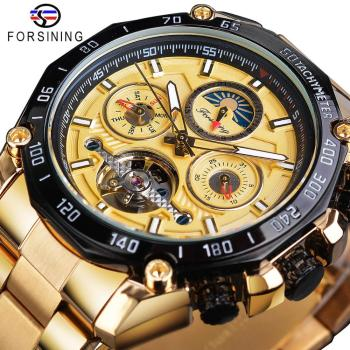 Forsining Tourbillon Men Mechanical Watch Golden Designer Automatic Moonphase Date Skeleton Steel Strap Race Sport Watches Clock forsining golden skeleton mechanical watches men luxury brand watch automatic stainless steel casual wristwatch hollow out clock