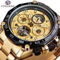 Reloj Mecánico Tourbillon de Forsining para hombre, reloj deportivo de carrera, reloj deportivo, reloj automático de diseño dorado