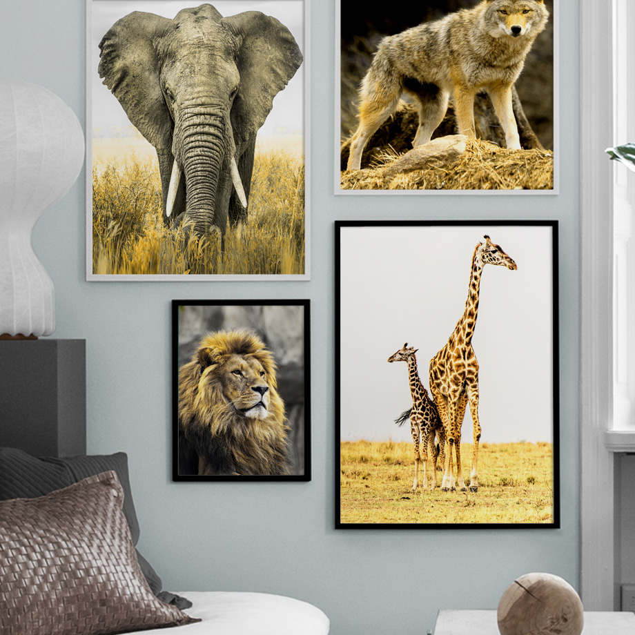 >Canvas Nordic <font><b>Style</b></font> Picture <font><b>Home</b></font> Decor Animal Collection <font><b>Prairie</b></font> Scenery Paintings Wall Art HD Prints Poster Modular Living Room