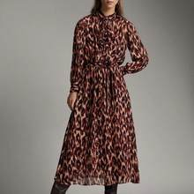 ZA spring new women Printed full sleeve mid-calf dress chic ladies fashion vintage style female dresses(China)