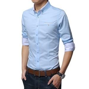 Image 4 - Browon новые хлопковые мужские рубашки Повседневная рубашка с длинными рукавами и однотонные Цвет классического кроя размера плюс мужские рубашки