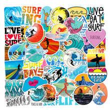 50Pcs Summer Beach Stickers Scrapbooking Surfing Sticker For Laptop Skateboard Fridge Phone Travel Kids DIY Toy