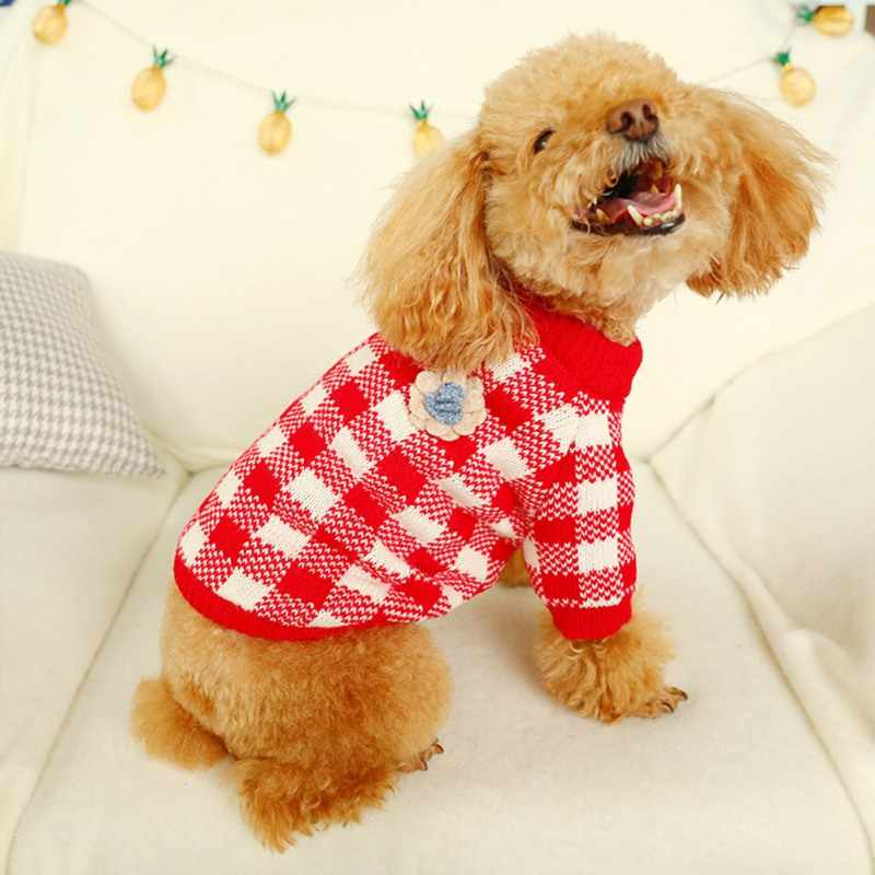 Red And White Plaid Winter Dog Sweater Pet Clothes Cute Style Small to Large for Dog & Cat Coat