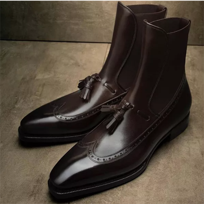 New Martin Boots High-top Leather Shoes Pointed Toe Leather Boots British Short Boots Men's Mid-cut Chelsea Men's Boots  ZZ112