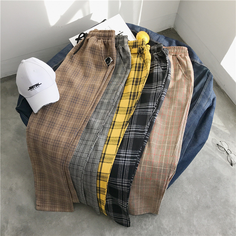 MEN'S WEAR 2019 Spring Lattice Loose Pants MEN'S Ninth Pants Korean-style Students BF Loose Casual Pants Fashion