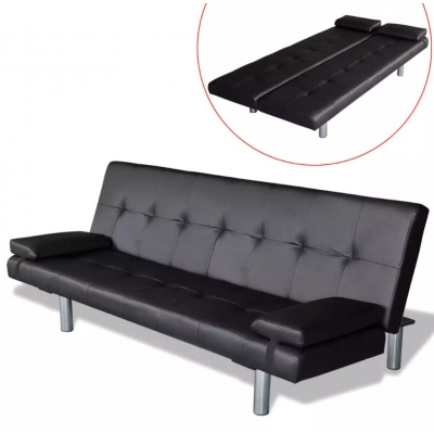 Adjustable sofa bed with 2 pillows, black synthetic leather, sofa, living room furniture, sofa bed image
