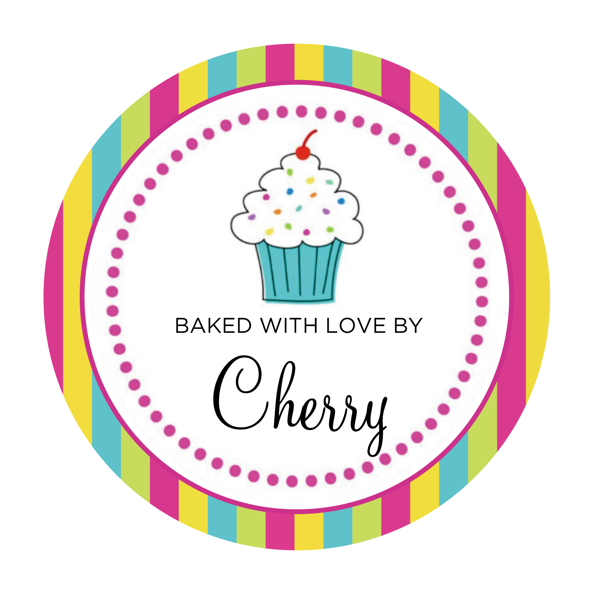 BAKED WITH LOVE personalised cupcake your company name stickers label PINK ROSE