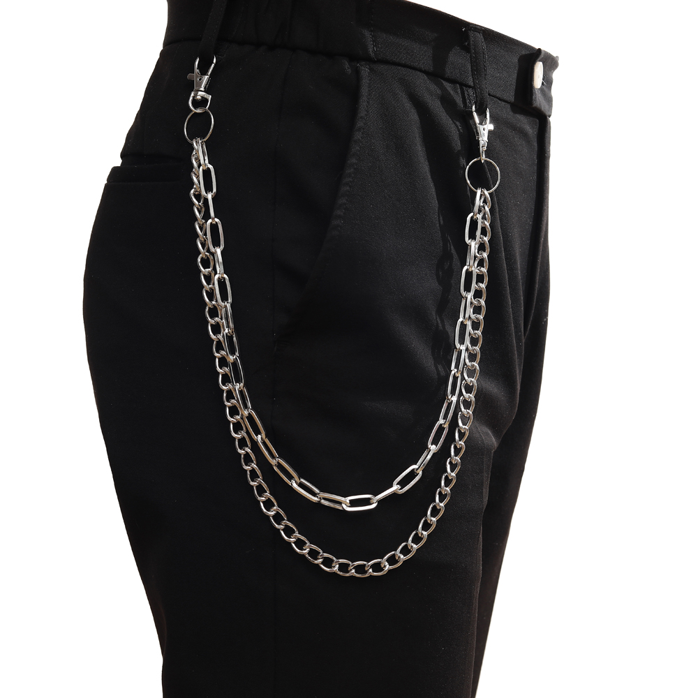 Punk Chains on jeans Keychain for Women Pants Multi Layer Belt Waist chains Hip Hop Hook hiphop Jewelry