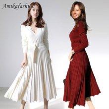 New Fashion Women Knitted Pleated Party White Dress Fall Winter Long Sleeve Thick Sweater Casual Sexy V Neck Sashes