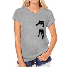 T-shirt z nadrukiem dla kota t-shirt z nadrukiem dla kobiet t-shirt z krótkim rękawem dla kobiet o-neck z luźnym t-shirtem topy z krótkim rękawem proste pulowerowe topy tanie tanio Lecopike Poliester NONE Tees Zwierząt REGULAR tshirt Suknem Kobiety Na co dzień