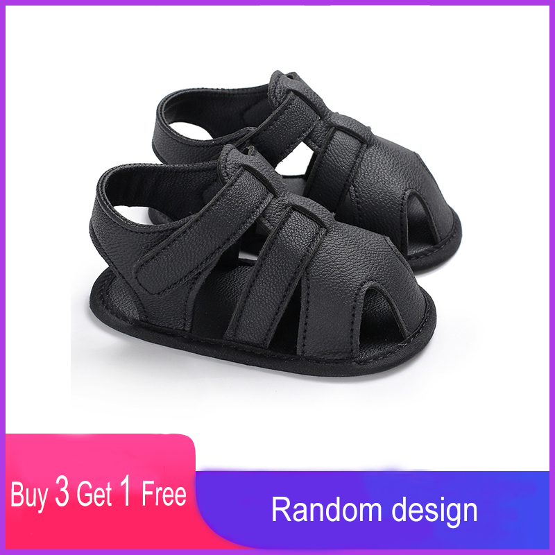 Summer Little Children Covered-toes Toddler Flats Cut-outs Breathable Newborn Kids Beach Shoes Baby Boys Leather First Walkers