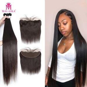 Прямые бразильские волосы Malaika 30 32 34 40 дюймов, пряди с фронтальным человеческим волосом, пряди с застежкой, наращивание волос без повреждени...