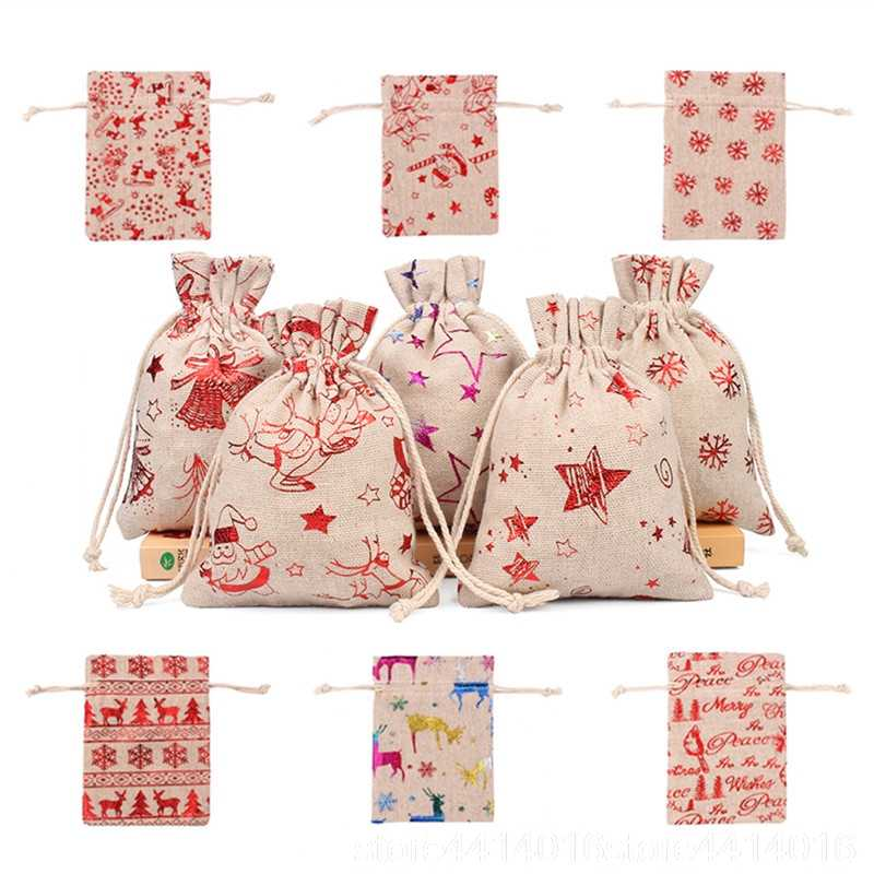 10pcs 10x14 13x18cm Color Printing Elk Burlap Bag Christmas Gift Jewelry Bag Wedding Party Decoration Drawer Bag Sachet Bag 66