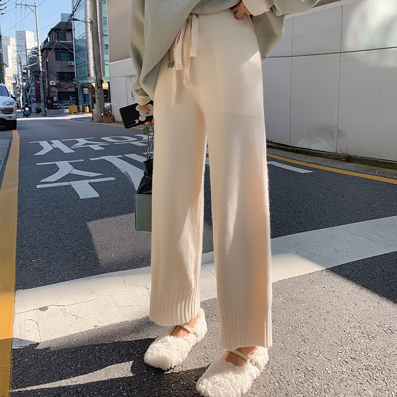 MISHOW Winter New High Waist Solid Color Pant Women Causal Ankle-Length Elastic Waist Pocket Pant  MX19D2136