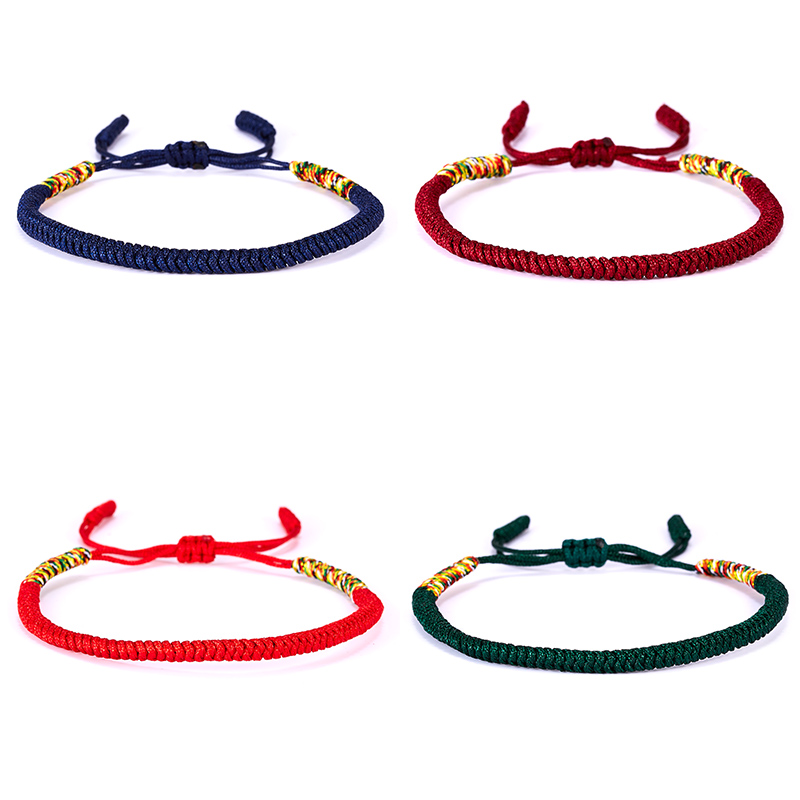 1PC Handmade Vintage 5Colors Tibetan Buddha Religion Red Lucky Weaving Rope Chain Bracelet Fashion Jewelry Gift With Best Wishes image
