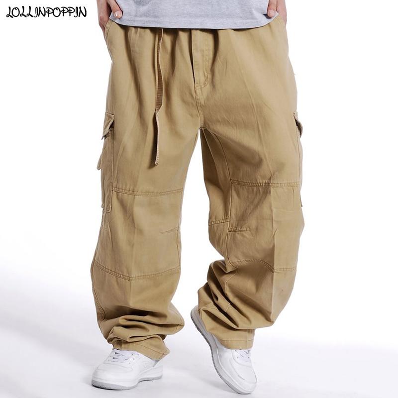 Men Baggy Cargo Pants Khaki / Black / Gray / Army Green Elastic Waist Mens Multi-Pockets Cotton Pants Plus Size Wide Leg Pants